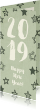 Nieuwjaarskaarten - Nieuwjaarskaart '2019' met sterren