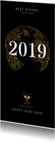 Nieuwjaarskaart goudlook geometrisch champagne