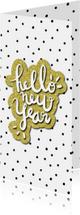 Nieuwjaarskaarten - Nieuwjaarskaart 'Hello New Year' met glitter en stipjes