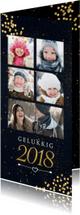 Nieuwjaarskaarten - Nieuwjaarskaart met gouden confetti en 5 foto's
