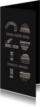 Nieuwjaarskaarten - Nieuwjaarskaart met kleurrijke '2018' illustratie