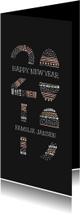 Nieuwjaarskaarten - Nieuwjaarskaart met kleurrijke '2019' illustratie