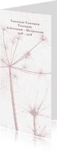 Rouwkaarten - Rouwkaart met oud roze bloem silhouet