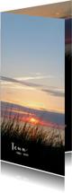 Rouwkaart strand zonsondergang