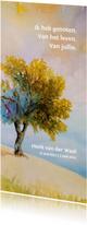 Rouwkaarten - Rouwkaart Vier het leven  met beeld van zomerse boom