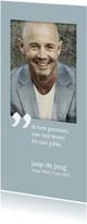 Rouwkaarten - Rouwkaart Vier het leven met portretfoto