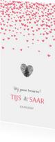 Trouwkaarten - Roze hartjes regen trouwkaart