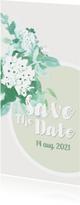 Trouwkaarten - Safe The Date kaart met waterverf bloemen in pastel kleuren