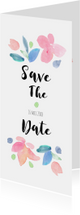 Trouwkaarten - Save the date, aquarel bloemen