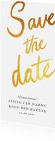 Trouwkaarten - Save the date kaart klassiek en stijlvol met goud & kalender