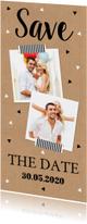 Trouwkaarten - Save the Date kaart kraft langwerpig foto