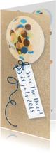 Trouwkaarten - save the date kaart met confetti ballon en goud