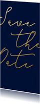 Trouwkaarten - Save the date kaart met gouden tekst langwerpig