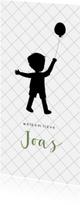 Geboortekaartjes - Silhouet geboortekaartje met jongetje en ballon