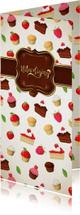 Uitnodigingen - Smakelijke uitnoding met taartjes en cupcakes