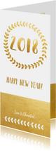 Nieuwjaarskaarten - Stijlvolle langwerpige nieuwjaarskaart met krans en goud