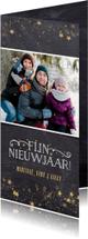 Nieuwjaarskaarten - Stijlvolle nieuwjaarskaart met krijtbordlook en goud