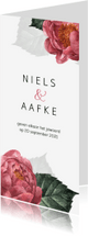 Trouwkaarten - Stijlvolle trouwkaart met roze pioenroos