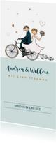 Trouwkaarten - Trouwkaart fiets met hartjes