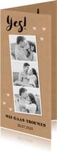 Trouwkaarten - Trouwkaart langwerpig fotocollage Kraft