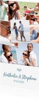 Trouwkaarten - Trouwkaart langwerpig met een fotocollage met 12 foto's