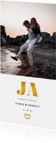 Trouwkaarten - Trouwkaart met foto en gouden accenten langwerpig