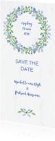 Trouwkaarten - Trouwkaart Save The Date met blauwe bloemenkrans