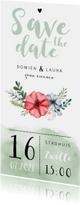 Trouwkaarten - Trouwkaart Save the date met waterverf en bloemen