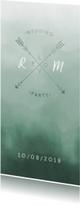 Trouwkaarten - Trouwkaart Scandinavisch met pijlen langwerpig