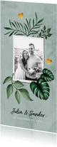 Trouwkaarten - Trouwkaart stijlvol bohemian met eigen foto en goudaccent