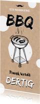 Uitnodigingen - Uitnodiging BBQ Tuinfeest kraft look met illustratie