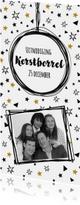 Uitnodigingen - Uitnodiging Borrel confetti zwart wit goud