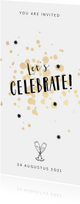 Uitnodigingen - Uitnodiging borrel feestje stijlgoud confetti met sterretjes