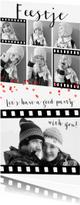 Uitnodigingen - Uitnodiging feestje zwart wit fotocollage