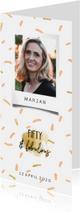 Uitnodigingen -  Uitnodiging fifty & fabulous met polaroid foto en confetti