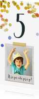 Kinderfeestjes - Uitnodiging kinderfeestje jongen confetti foto polaroid