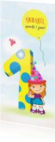 Kinderfeestjes - Uitnodiging meisje ballon 1 jaar