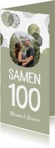 Uitnodigingen - Uitnodiging samen 100 jaar met foto en stippen