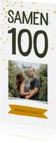 Uitnodigingen - Uitnodiging samen 100 met foto en label