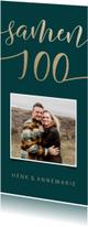Uitnodigingen -  Uitnodiging Samen 100 met goudlook en foto langwerpig