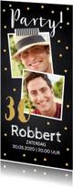 Uitnodigingen - Uitnodiging verjaardag foto confetti krijtbord - LB