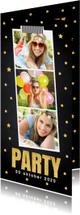 Uitnodigingen - Uitnodiging verjaardag fotocollage goud confetti - LB