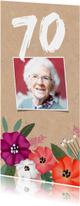 Uitnodigingen -  Uitnodiging verjaardag kraft met vrolijke bloemen en foto