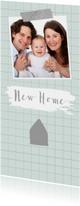 Verhuiskaarten - Verhuiskaart hip ruitpatroon foto huisje