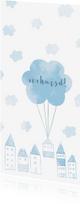 Verhuiskaarten - Verhuiskaart langwerpig  met huisjes en wolken
