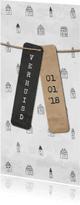 Verhuiskaarten - Verhuiskaart langwerpig met labels en huisjes patroon
