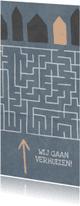Verhuiskaarten - Verhuiskaart met doolhof en huisjes