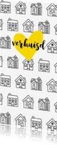 Verhuiskaarten -  Verhuiskaart met getekende zwart-witte huisjes