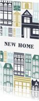 Verhuiskaarten - Verhuiskaart 'NEW HOME' met geïllustreerde huizen