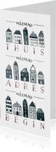 Verhuiskaarten - Verhuiskaart 'Nieuw Begin' langwerpig met huisjes